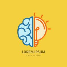 Vector icon with brain and light bulb. vector art illustration