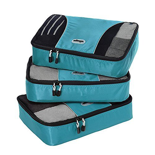 eBags Medium Packing Cubes - 3pc Set (Aquamarine) ** CHECK OUT ADDITIONAL INFO @: http://www.best-outdoorgear.com/ebags-medium-packing-cubes-3pc-set-aquamarine/
