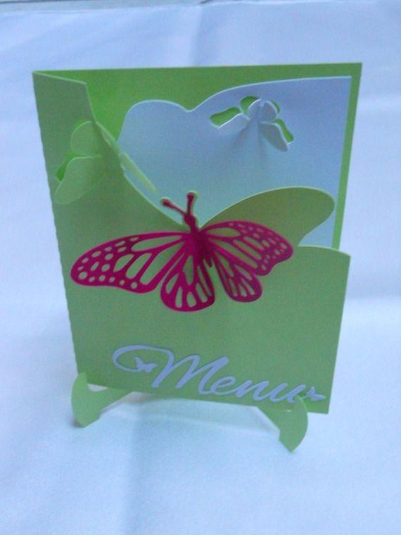 Menu papillons carte double sur chevalet assorti faire-part papillons (modéle Anaé), marque place assorti vert