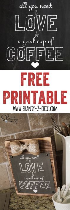 Free Coffee Printable and Frame Tutorial... So cute and easy... and FREE! LOVE. www.Shanty-2-Chic.com