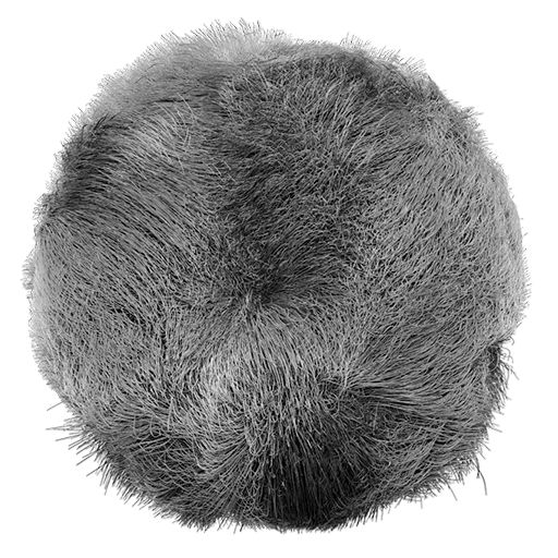ZBrush simple sphere rendered with the MatCap grey displaying the Drag Random Groom brush