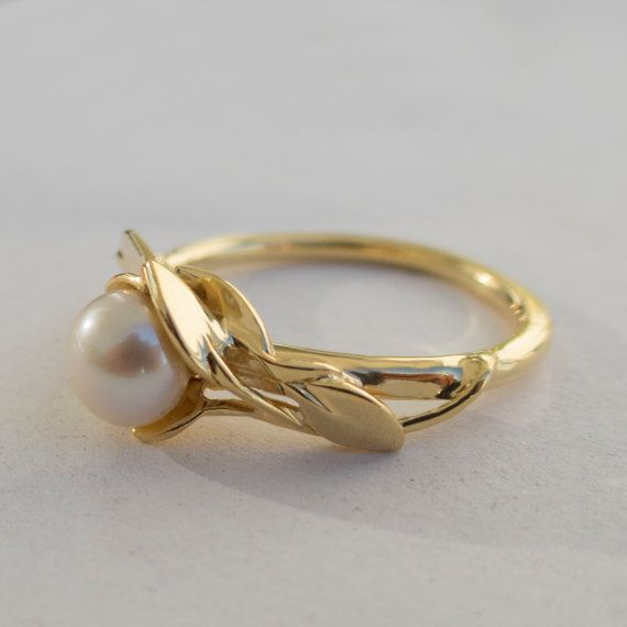 Leaves Engagement Ring No. 6 - 14K Gold and Pearl engagement ring, engagement ring, leaf ring, filigree, antique, art nouveau, vintage