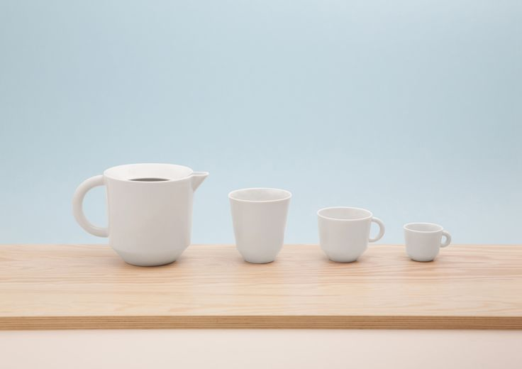 "CZAJ /  cooperation Grynasz Studio & ZPS ""KAROLINA"" / 2016 / A family of tea- and coffee-makers, cups and bowls. The design and shaping of individual items enables them to be stacked on top of one another, and hence stored conveniently. The edge of the jug is shaped to form a 'funnel', so that the jug can be easily filled with water. The lip of the jug is specially profiled to ensure that liquids are poured easily and securely, with no spills or unnecessary drops."