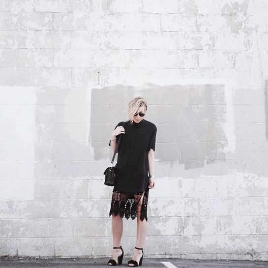 5 Lace Outfit Ideas That Are Far From Expected #refinery29  http://www.refinery29.com/how-to-wear-lace#slide3  Mary Seng of Happily Grey layers a lace-hem slip under her shirtdress. You could never tell, though, given how well the pieces mesh.