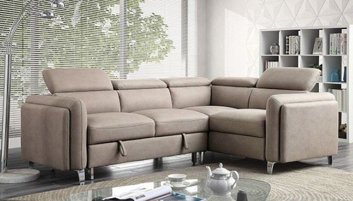 Cm6605 2 Pc Verity Beige Fabric Sectional Sofa Set With Pull Out