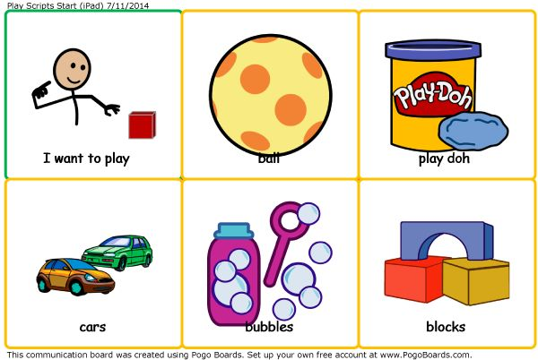 """Play Scripts"" - for kids with Autism. One of 15 FREE ""Activity and Choice"" communication boards for Autism therapy and play. For high quality speech output, (with children's voices) - It can be used on an iPad with the free Pogo Boards app installed. PDF versions are also included for a low-tech communication option."