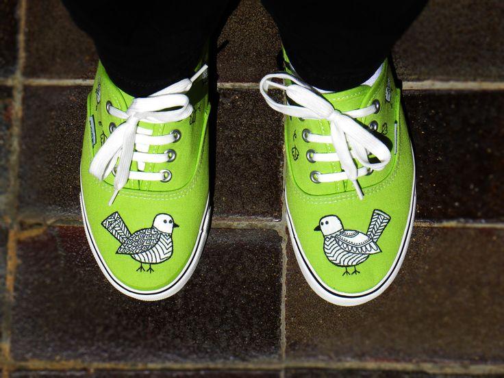 Hand Painted shoes with unique bird design!  Please check my etsy shop!! https://www.etsy.com/shop/MirandaKou?ref=hdr_shop_menu