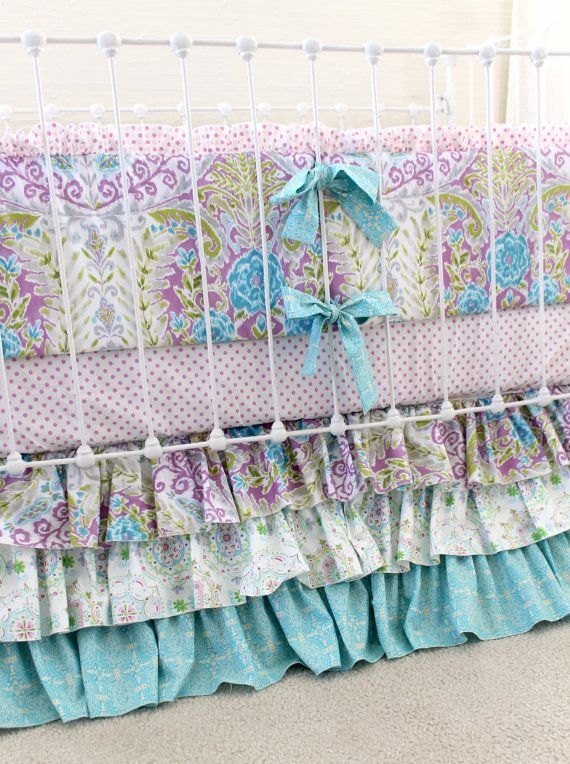 Lavender Boho Baby Girl Crib Bedding Purple baby by LottieDaBaby
