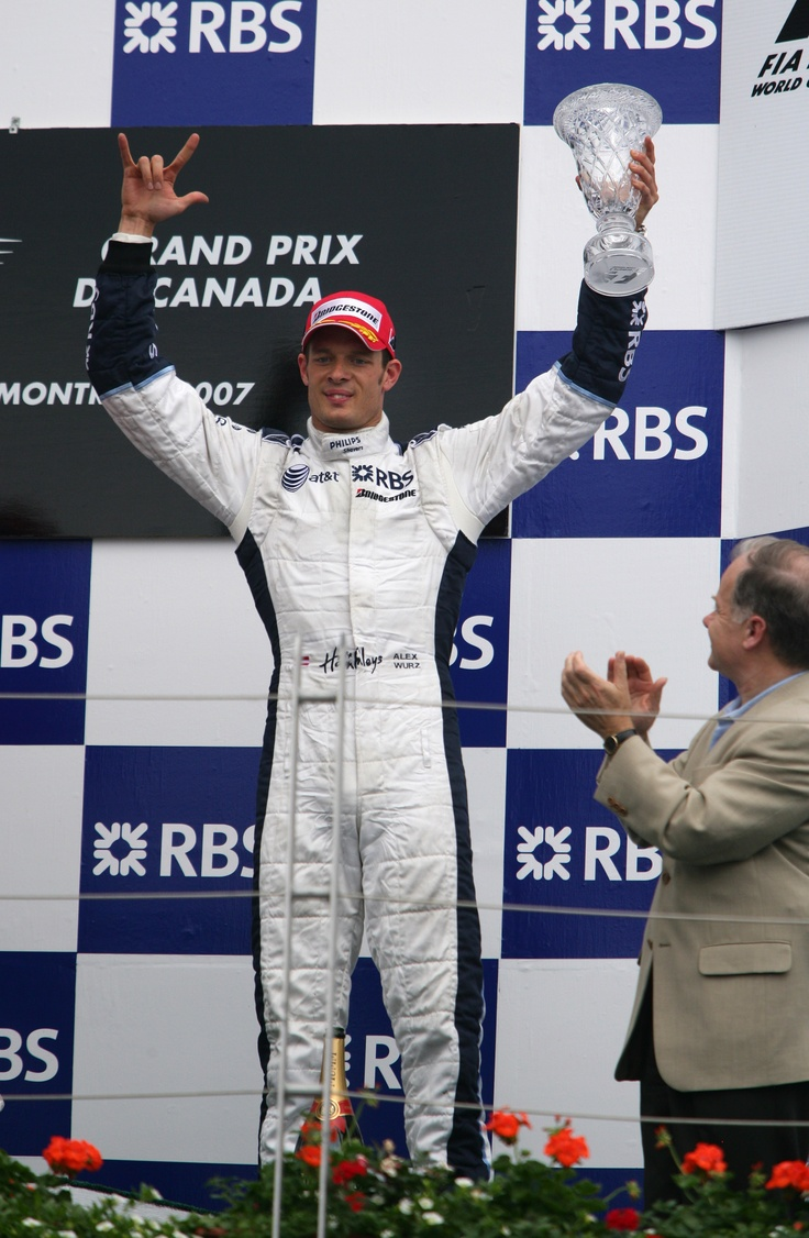 Alexander Wurz celebrates 3rd place on the podium at the 2007 Canadian GP, Montreal