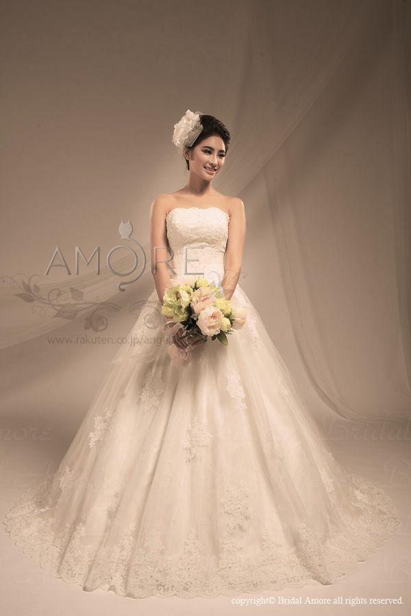 【楽天市場】ウェディングドレス_ウエディングドレス_Aライン(w2314):ブライダルアモーレ