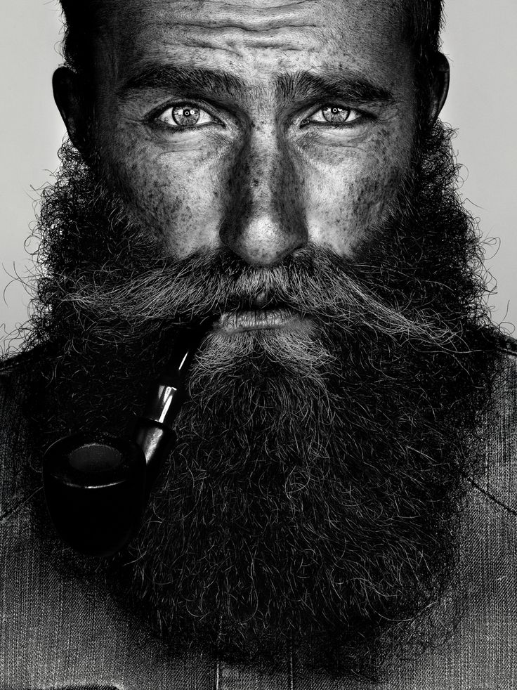 Black and white portrait - Beard. The beard is just a tad large for me, but he's sexy