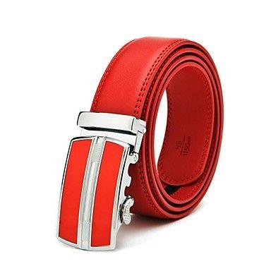 Mens Designer Genuine Red Leather Belt. Only at www.pandadeals.co.uk