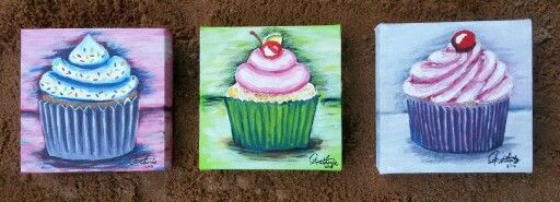 Cupcake paintings by Carina van der Linde Acrylic on canvas