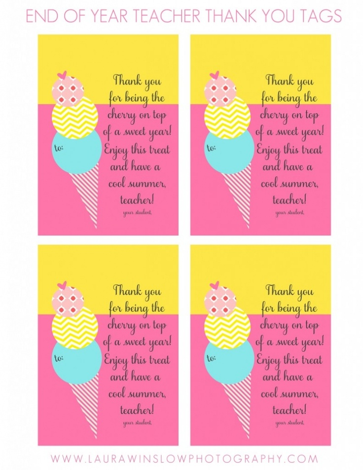 Free End of Year Teacher Thank You Ice Cream Printable Tags