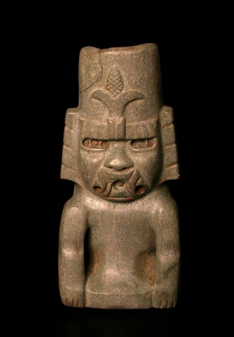 """Olmec Jade-Green Stone Sculpture of the Maize God Seated. Mexico Circa: 900 BCE to 500 BCE 10"""" (25.4cm) high Pre-Columbian. Jade ~The symbol of the maize on his headdress is one of fertility"""