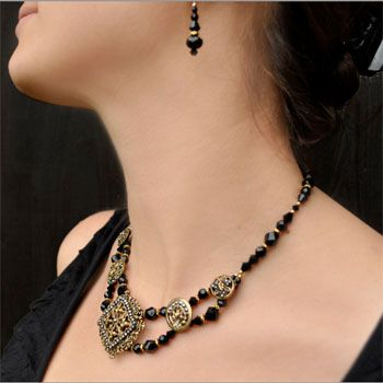 antique button jewelry for evening wear - necklace and bracelets