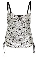Retro Chic By Torrid - Silver Sugar Skull Print Tankini SKU: 531216 - now if I just had the nerve to wear it!