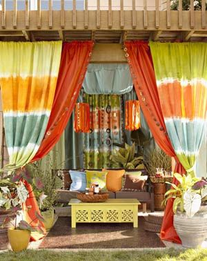 Great bright colors.: Patio Design, Outdoor Living, Outdoor Rooms, Gardens, Colors Schemes, Ties Dyes, Outdoor Spaces, Outdoor Curtains, Patio Ideas