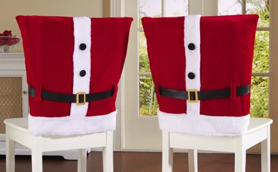 Red Santa Suit Holiday Dining Chair Covers.  Could DIY w/red pillowcases, fur trim & belt!  gonna have to be mr/mrs