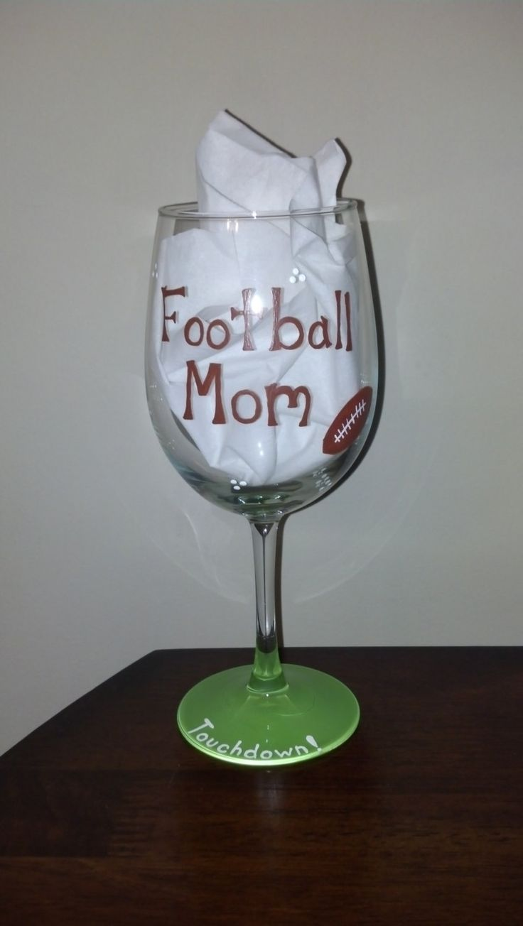 Hand Painted Football Mom Wine Glass By Jrsisterdesigns On