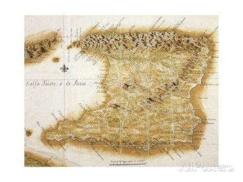 Map of Island of Trinidad, 1777, Trinidad and Tobago, 18th Century Impression giclée