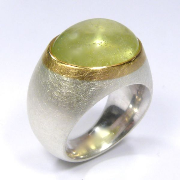 Ring, Silber 925/-, Gold 750/-, Beryll, oval, Cabochon, 14,5 Carat