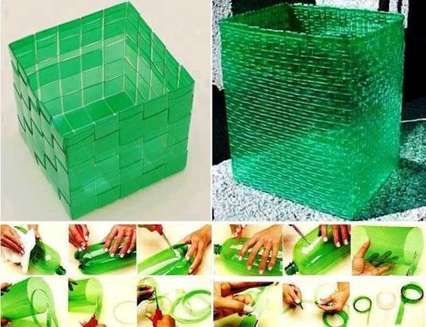 How to Weave Plastic Baskets from Plastic Bottles #DIY #craft #recycling