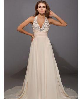 CHERIE - Evening dresses A-line Chapel train Chiffon Halter Wedding Party Dress