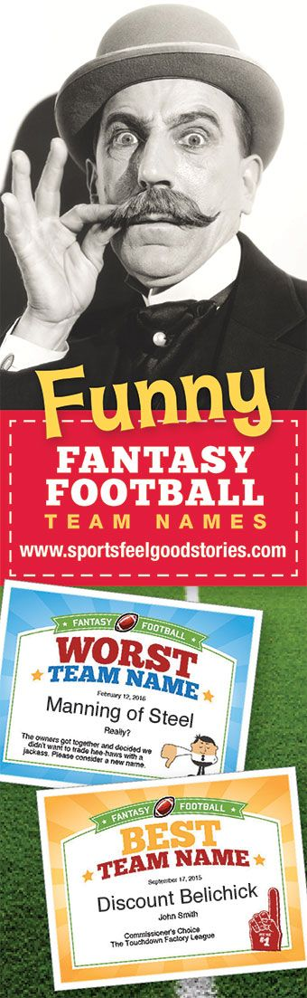 Fantasy Football Team Names for the 2017 season. 30 pages with lists of funny names, cool names, good and the best. There's something for everyone. Check 'em out! NFL, The League, Commissioner, FFL, Tom Brady, Aaron Rodgers, Drew Brees, Andrew Luck, Dallas Cowboys, Green Bay Packers and more.