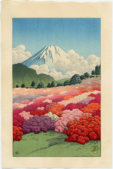 View of an Azalea Garden and Mt. Fuji: Hasui, Kawase ... Original Japanese Woodblock Print