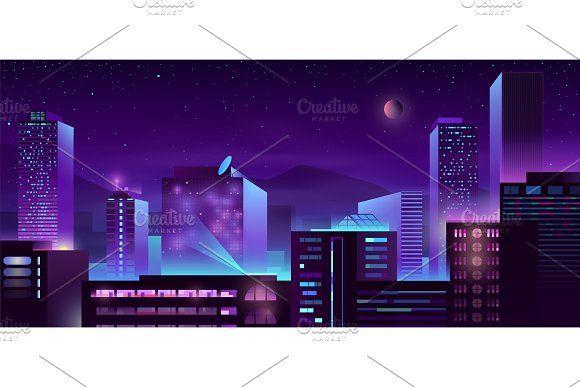 Modern Metropolis Night Buildings In 2020 Modern Metropolis Urban Architecture Architecture Background