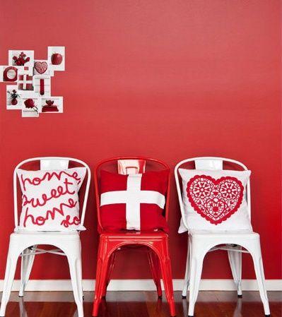 Inspiratie beeld. Knal rood in je interieur. Red wall.
