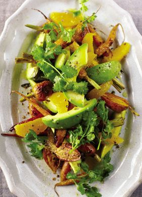 Carrot, Avocado, and Orange Salad with garlic cloves, sea salt, cumin, coriander, dried pequin chilies, olive oil, lemon juice  and cilantro.