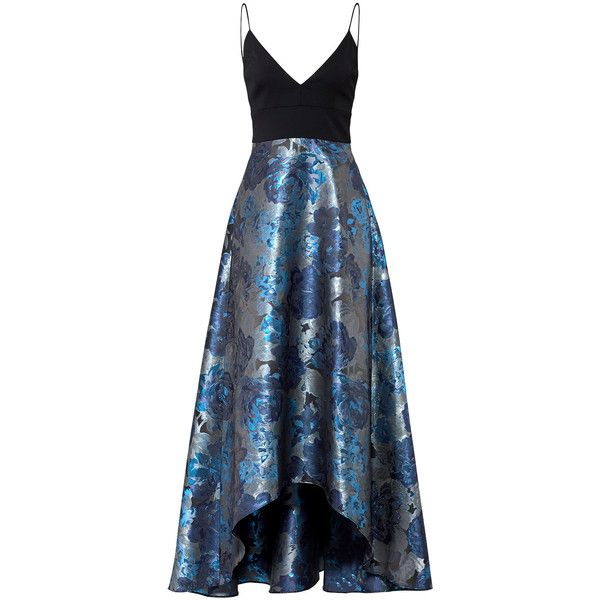 Badgley Mischka Blue Floral Gown ($150) ❤ liked on Polyvore featuring dresses, gowns, floral printed dress, blue ball gown, floral print dress, badgley mischka gowns and blue floral dress