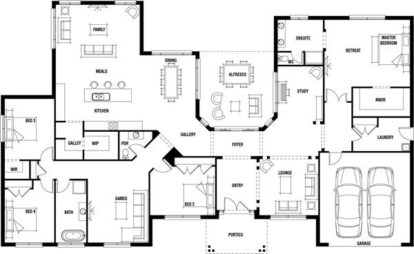 Hillside Home Design - Wide Frontage House Plan | Porter ... on walkout ranch floor plans, simple lake house floor plans, split level home floor plans, hillside house plans with walkout basement, modular home floor plans,