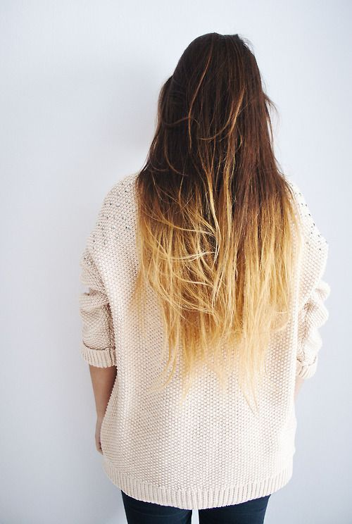 brown hair with blonde tips.