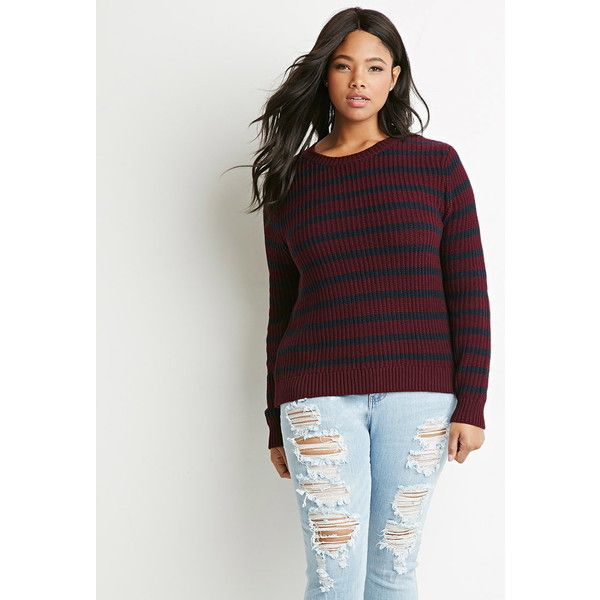 Forever 21 Plus Striped Waffle Knit Sweater ($20) ❤ liked on Polyvore featuring tops, sweaters, forever 21 sweaters, forever 21 tops, stripe sweater, full length sweater and lightweight sweaters