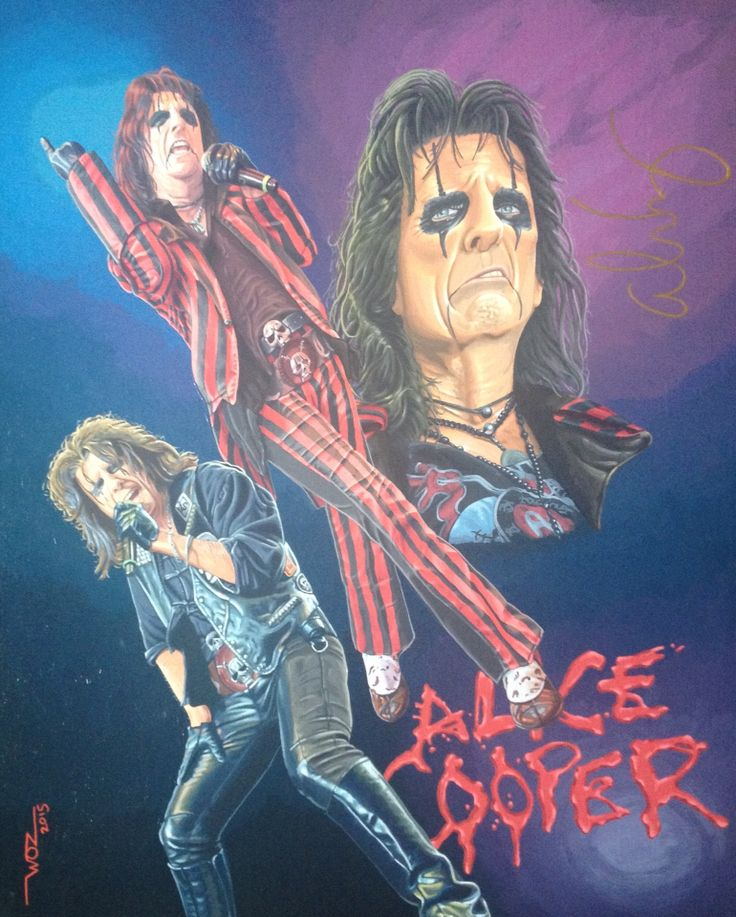 Artist WOZ fine art painting 'Alice Cooper' acrylic on canvas 16x20 inch.