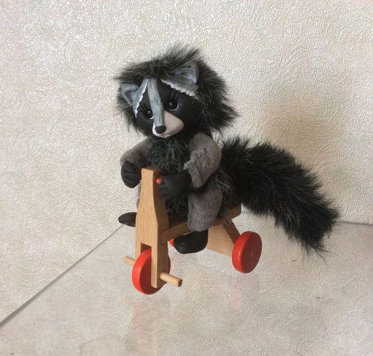 Cute Handmade Miniature Toy Raccoon Joy 2in OOAK by Artist Natalia Kaledina | eBay