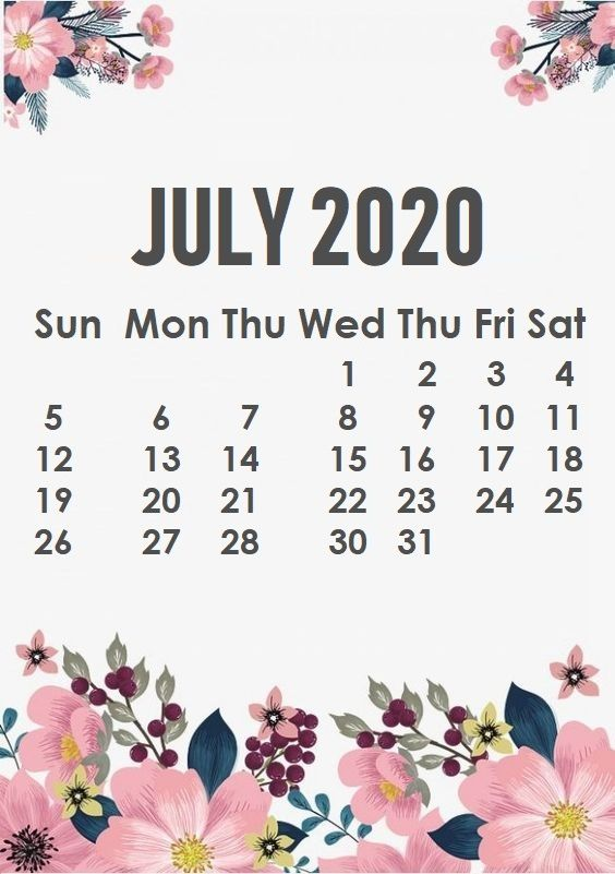 July 2020 iPhone Wallpaper Calendar wallpaper, July