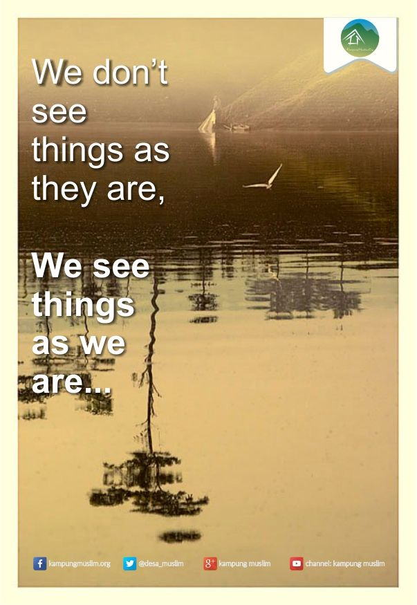 We see things as we are