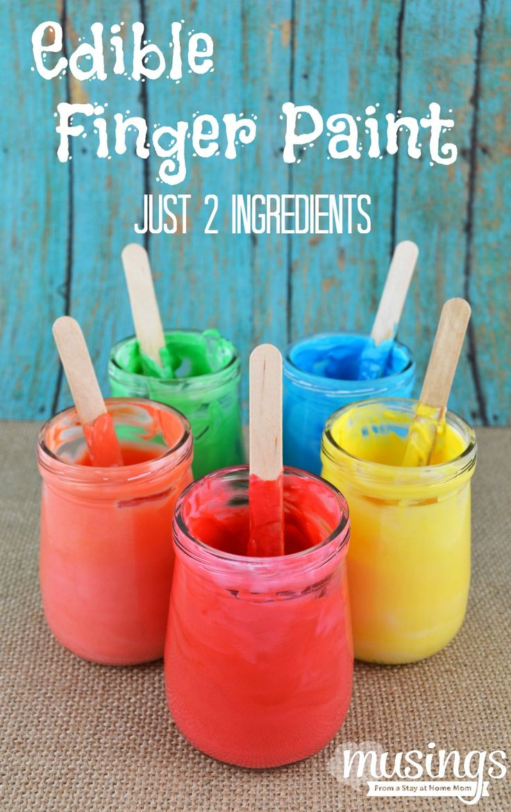 Edible Finger Paint - with just two common ingredients, you can make this fun activity anytime for your busy toddler and not worry if they eat it!