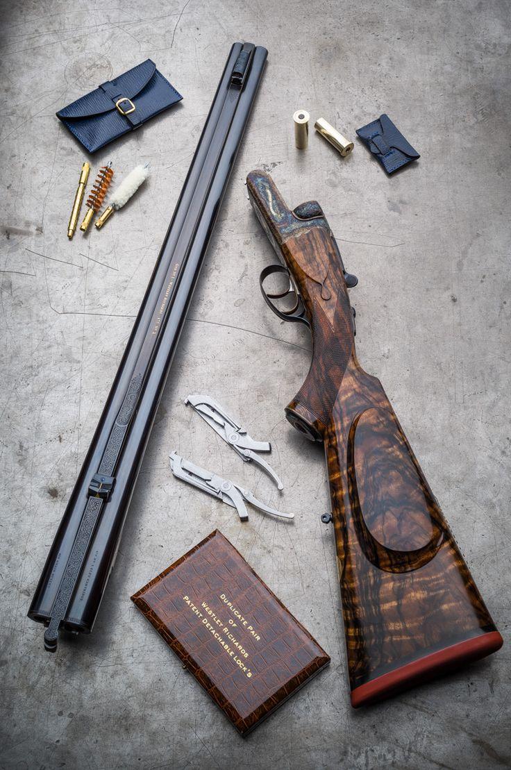 Double pistol handgun revolver gun display case cabinet rack shadowbox - Westley Richards Double Rifle 475 No 2 Eley