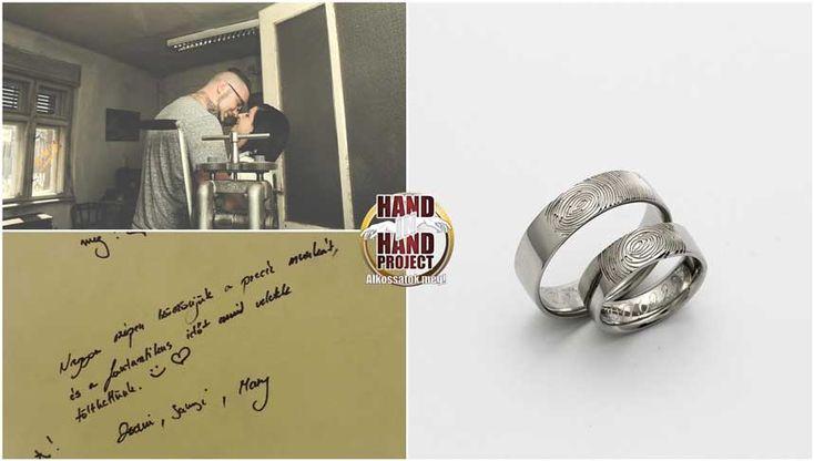 Zsani és Sanyi saját kezűleg készített fehér-arany ujjlenyomatos jegygyűrűi.