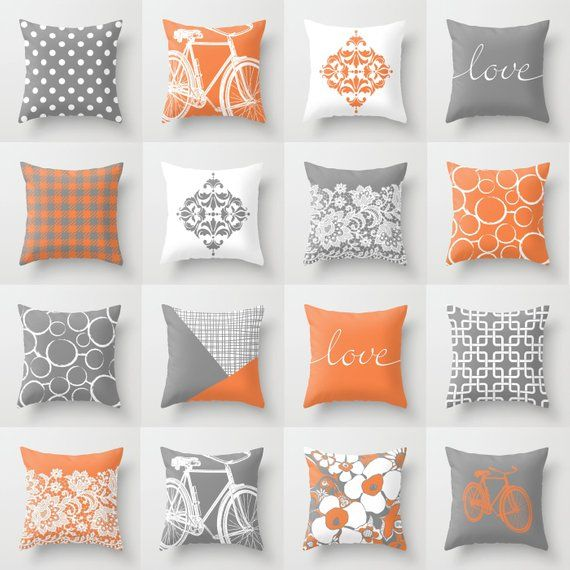 Fine Orange Grey White Throw Pillow Mix And Match Indoor Outdoor Cjindustries Chair Design For Home Cjindustriesco