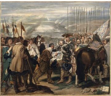 [브레다의 항복] 1634-1635   작품은 펠리페 4세 치하의 에스파냐가 30년 전쟁을 치루던 중, 1625년 전략적으로 중요한 요충지였던 네덜란드의 브레다 지방을 함락한 사건을 묘사했다. 항복한 네덜란드의 장군 나사우는 당시 에스파냐 군대를 이끌던 암브로지오 스피놀라에게 브레다의 열쇠를 건네주고 있다. 화면의 좌우로 승자와 패자가 나누어져 배치되어 있다. 벨라스케즈는 승자인 에스파냐 군대를 표현하기 위해 우측 뒤편에 수직으로 질서정연하게 세워져 있는 창들을 그려 넣었고, 패자인 네덜란드 군대의 모습은 전열이 흩어져 있는 상태로 표현했다. 화면의 좌측에는 패자, 우측에는 승자가 있다. 승자와 패자의 만남이 중심이지만 어디에도 승자의 교만이나 패자의 치욕적인 장면을 찾아 볼 수 없다. 두 장군이 서로를 존중하면서 말에서 내려 조우하고 있는 모습을 그릴뿐이다. 군인 한 사람 한 사람의 얼굴을 자세히 묘사하고 있고 사진 같다는 느낌이 들었다.