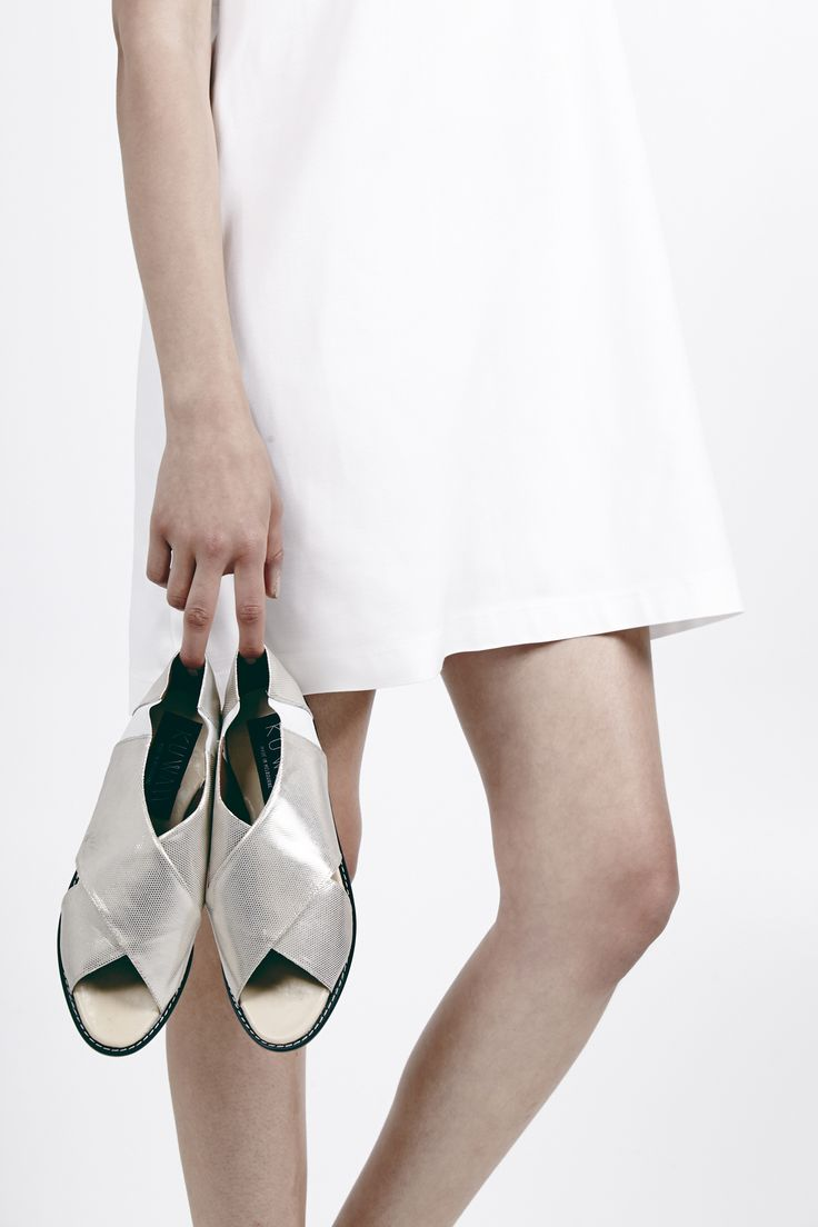 "Rationale dress, 2-tone Esperance flat sandal.  Kuwaii SS 14/15 ""Rationale"" Collection. Image by Daniel Gurten. Hair/Make-up by Deborah Brider. Modeled by Jade @ IMG."