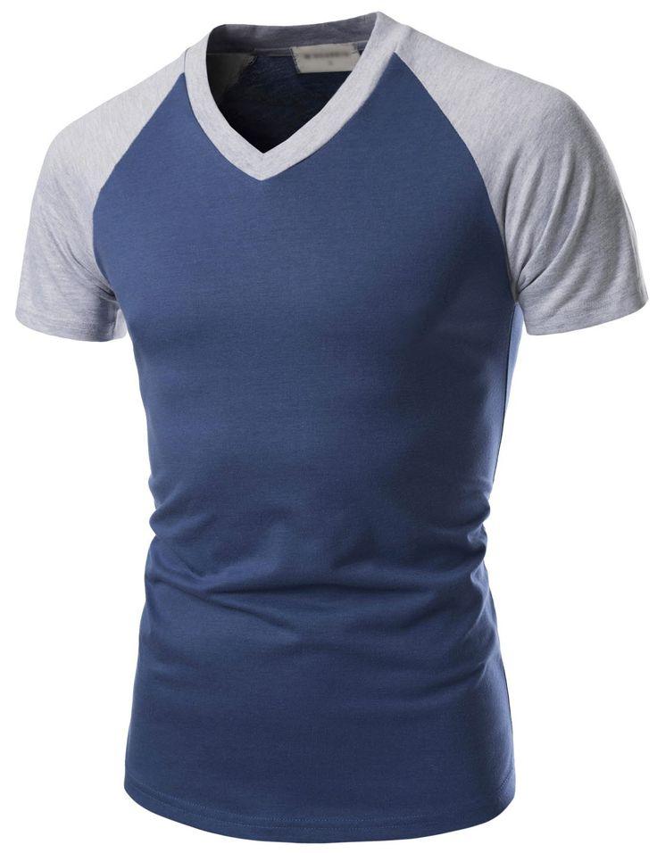 (NKRST621) TheLees Prime Unisex Slim Fit V-Neck Short Sleeve Raglan T-shirts