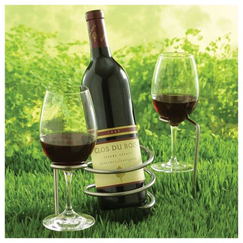 set of steady sticks outdoor wine bottle and glass holders wine enthusiast picnics glasses. Black Bedroom Furniture Sets. Home Design Ideas