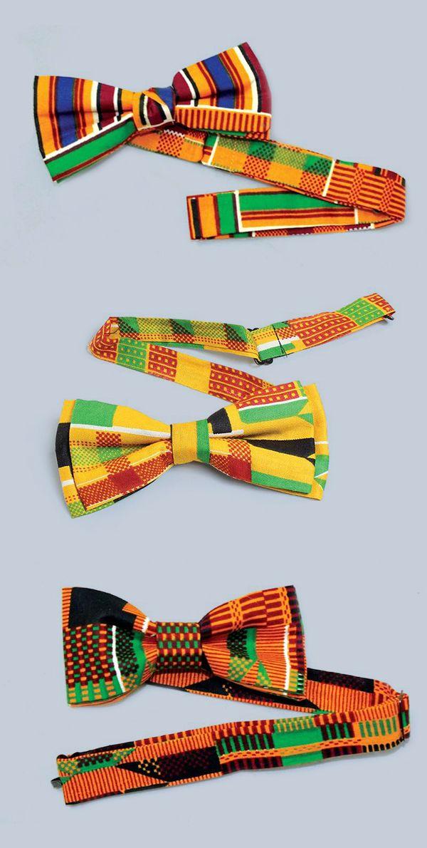 African Kente Print bow tie